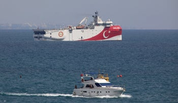 Turkey's research vessel Oruc Reis is anchored off the coast of Antalya on the Mediterranean Sea in Turkey, September 27, 2020.