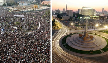 On the left, Egyptians rally at Tahrir Square in downtown Cairo February 1, 2011. On the right, a general view shows Tahrir Square, after its renovation on July 13, 2020.