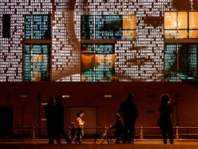 Light installation hashtagged #everynamecounts projecting names of victims of the Nazi regime on the facade of the French embassy in Berlin ahead of Holocaust Memorial Day. Jan 22, 2021