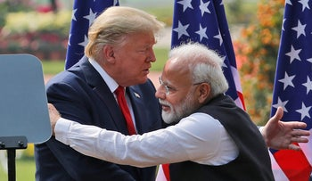 U.S. President Donald Trump and Indian Prime Minister Narendra Modi embrace after giving a joint statement in New Delhi, India. Feb. 25, 2020
