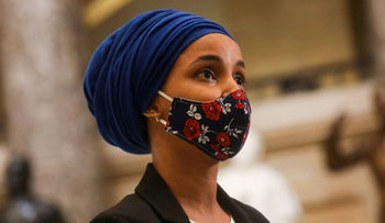 U.S. Rep. Ilhan Omar (D-MN) speaks to the media at the U.S. Capitol, as Democrats debate one article of impeachment against U.S. President Donald Trump, in Washington, U.S.