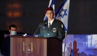 IDF Chief of the General Staff Lt. Gen. Aviv Kochavi speaks on the ISS Magen ship in the Haifa port, December 2, 2020.