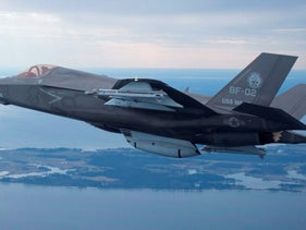 The U.S. Marine Corps version of Lockheed Martin's F35 Joint Strike Fighter,at Patuxent River Naval Air Systems Command in Maryland, February 22, 2012.