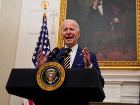 President Joe Biden delivers remarks in the State Dining Room of the White House, January 22, 2021.