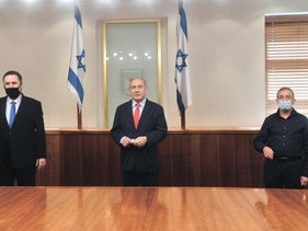Netanyahu and Katz (L) at the unveiling of the payment plan, January 2021.