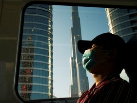 A commuter wearing a face mask to help curb the spread of the coronavirus, Dubai, United Arab Emirates, April 26, 2020.