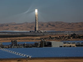A solar power station in the Negev desert, 2019.