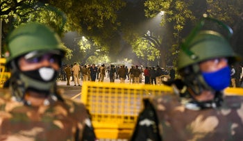 Police at the explosion site near the Israeli Embassy in New Delhi, January 29, 20201.