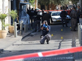 Police at the scene of the killing of Mohammed Abu Najm in Jaffa, January 24, 2021.
