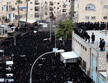 The funeral of Rabbi Soloveitchik in Jerusalem, January 31, 2021.