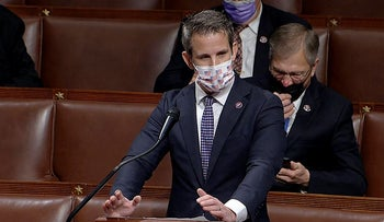 In this image from video, Rep. Adam Kinzinger, R-Ill., speaks as the House debates the objection to confirm the Electoral College vote from Pennsylvania, at the U.S. Capitol early Thursday, Jan. 7, 2021