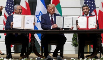 Prime Minister Benjamin Netanyahu, former U.S. President Donald Trump and UAE Foreign Minister Abdullah bin Zayed in the signing ceremony of the Abraham Accords, the White House, September 15, 2020.