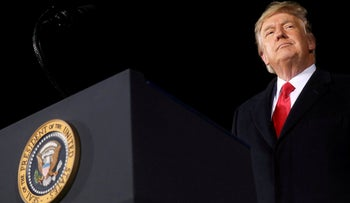 U.S. President Donald Trump addresses a campaign rally in Dalton, Georgia, on the eve of the run-off election in that state, January 4, 2021