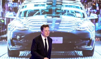 Tesla CEO Elon Musk at an opening ceremony for Tesla China.