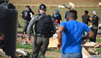 The Israeli civil administration in Khirbet Humsa on Wednesday