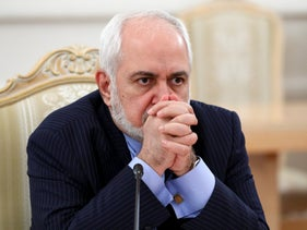 Iranian FM Javad Zarif during talks in Moscow in January 2021.