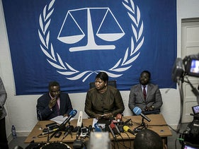 International Criminal Court's (ICC) chief prosecutor Fatou Bensouda (C) holds a press conference during her visit to look into allegations of extreme violence in Kinshasa, Democratic Republic of the Congo