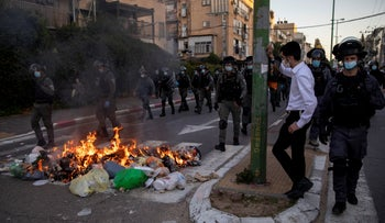 Ultra-Orthodox protesters in Bnei Brak, last month.