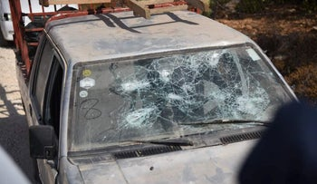 A vehicle vandalized in the Palestinian village of Burka last August.