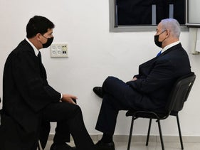 Netanyahu in court in Jerusalem on Monday with one of his lawyers