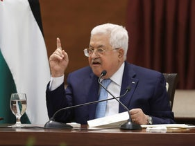 Palestinian President Mahmoud Abbas heads a leadership meeting at his headquarters in the West Bank city of Ramallah in May.