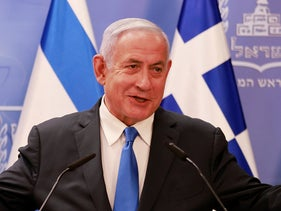 Benjamin Netanyahu delivers a statement in Jerusalem, this week.