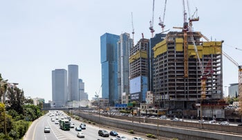 The construction of office towers in Tel Aviv