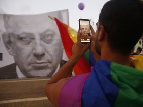 Protesters from the LGBTQ community demonstrating against Prime Minister Benjamin Netanyahu in Tel Aviv.