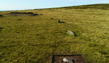 The arc of former standing stones at Waun Mawn