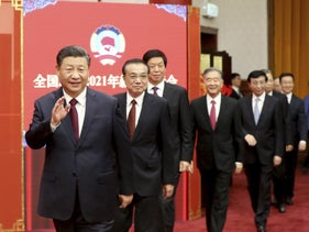 Chinese President Xi Jinping, left, and other top leaders in Beijing last December.