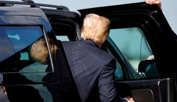 Trump leaves Palm Beach International Airport on route to his Mar-a-Lago residence in Palm Beach, last month.