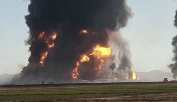 A gas tanker explosion in Herat, Afghanistan, today.