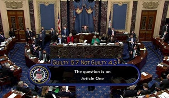 The U.S. Senate votes to acquit former U.S. President Donald Trump by a vote of 57 guilty to 43 not guilty, short of the 2/3s majority needed to convict, February 13, 2021.