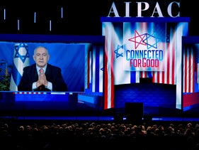 Israeli Prime Minister Benjamin Netanyahu speaks on a video from Israel to the 2019 American Israel Public Affairs Committee (AIPAC) policy conference.