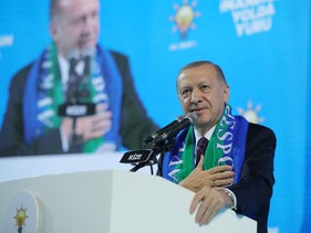 Turkish President Tayyip Erdogan addresses members of his ruling AK Party (AKP) during a meeting in Rize, Turkey.