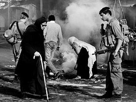 A scene from the occupation in Gaza during the first intifada, 1990.