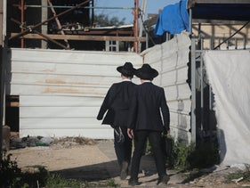 Ultra-orthodox students on their way to school in Jerusalem this week.
