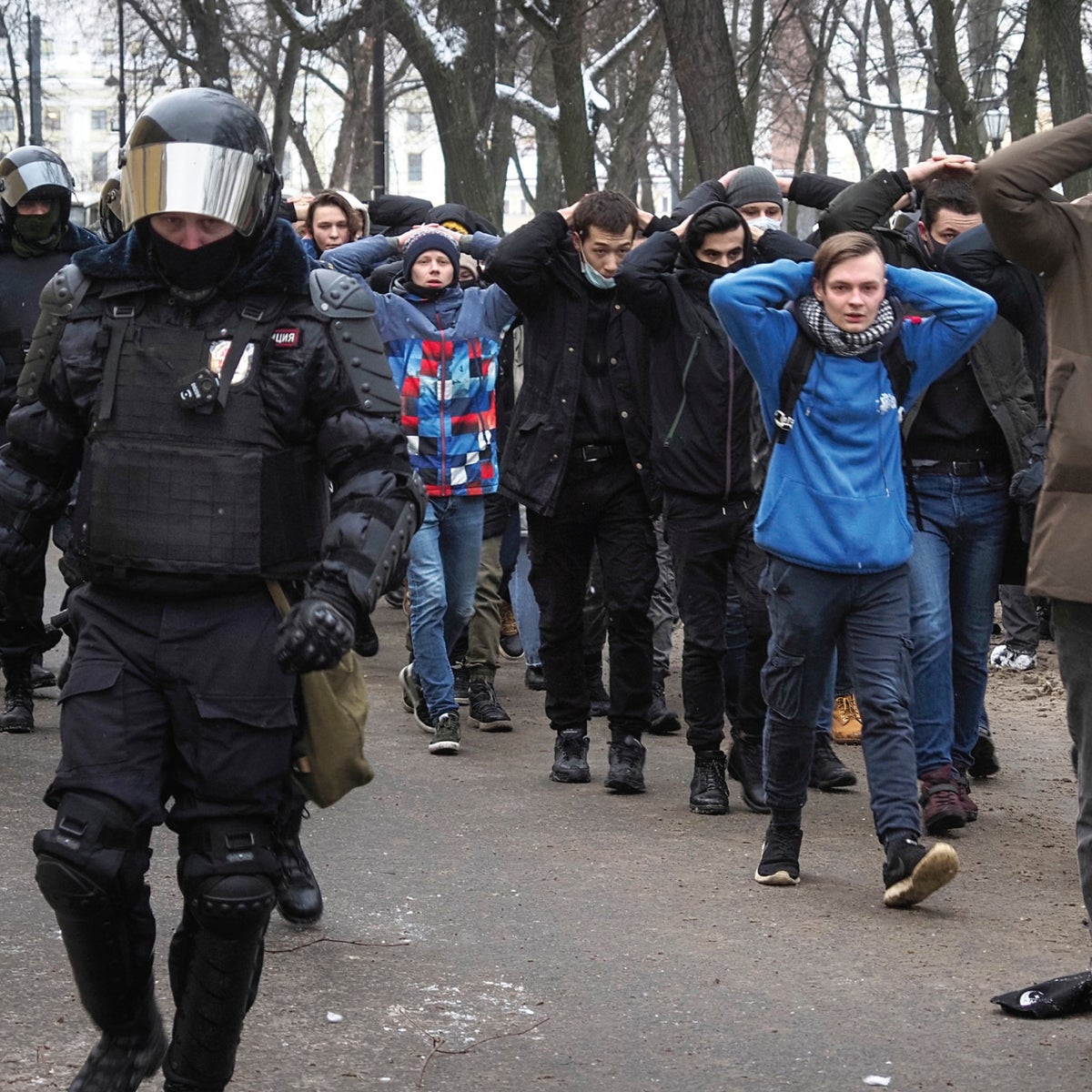 The January 31 protest in Moscow against the imprisonment of opposition leader Alexei Navalny.
