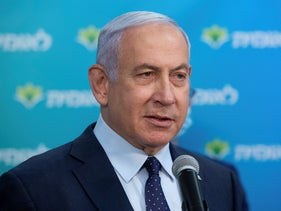 Israeli Prime Minister Benjamin Netanyahu visits the Leumit Health Care Services.