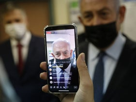 Israeli PM Netanyahu being filmed live on Instagram, last year.