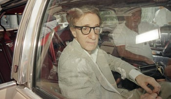 Woody Allen pictured on his way to court during the vicious custody battle with Mia Farrow.