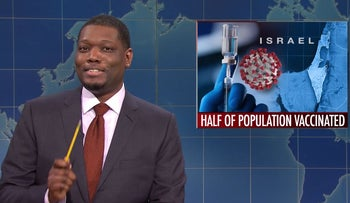 Michael Che making a joke about Israel's vaccine rollout on Saturday Night Live.