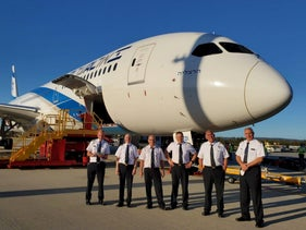 More positive times: the El Al team that were to fly El Al's first flight to Australia last year.