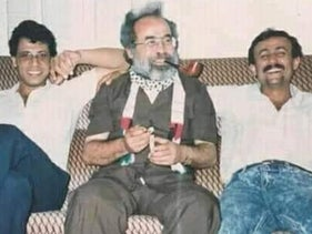 Leaders of the Palestinian Fatah movement who were expelled by Israel, in Amman, Jordan, in 1988 or 1989, from left: Mohammed Dahlan, Abu Ali Shahin and Marwan Barghouti