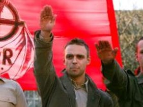 The image of Greniuch raising his arm in a Nazi salute in 2007