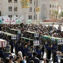 Honour guards carry coffins of Houthi fighters killed in recent fighting against government forces in Yemen's oil-rich province of Marib, during a funeral procession in Sanaa, Yemen