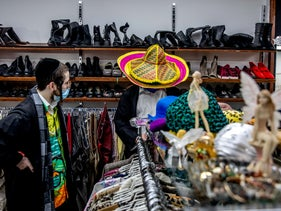 Shopping for costumes at a second-hand shop in Jerusalem, this week
