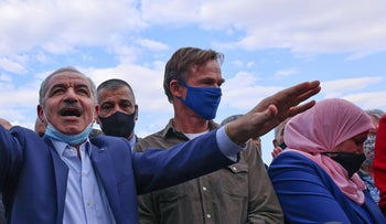 Palestinian PM Mohammed Shtayyeh and EU representative in the West Bank and Gaza Sven Kuhn von Burgsdorff in Khirbet Humsa, this month.