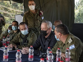 Defense Minister Benny Gantz visiting a military exercise in the north last October.