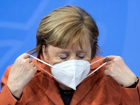 Chancellor Angela Merkel at a press conference in the Federal Chancellery, in December last year.